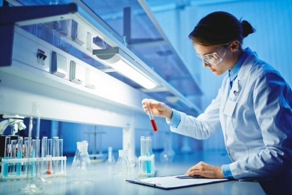 Woman Working With CBD In A Lab